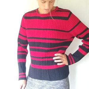 VINTAGE chunky cableknit grandpa sweater red/black